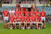 24 June 2012; The Cork team, back row, from left, Joe Jordan, Stephen Nyhan, Stephen White, Colm Casey, Darragh Rodgers, Brian O'Sullivan, Vincent Hurley and Adrian Mannix, with, front row, from left, Olann Kelleher, Michael O'Sullivan, Mark Sugrue, David Drake, Brendan Withers and Brian Lawton. Munster GAA Hurling intermediate Championship Semi-Final, Cork v Tipperary, Páirc Uí Chaoimh, Cork. Picture credit: Stephen McCarthy / SPORTSFILE