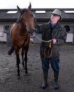 27 June 2012; Trainer John Oxx, with Born To Sea,  in attendance at a Pre-Dubai Duty Free Irish Derby media morning. Curraghbeg Stables, The Curragh, Co. Kildare. Picture credit: David Maher / SPORTSFILE