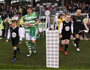16 September 2017; Shamrock Rovers captain Ronan Finn and Dundalk captain Chris Shields lead their side out prior to the EA Sports Cup Final between Shamrock Rovers and Dundalk at Tallaght Stadium in Dublin. Photo by Stephen McCarthy/Sportsfile