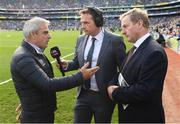 17 September 2017; Golfer Paul McGinley and former Taoiseach Enda Kenny are interviewed by Damien Lawlor prior to the GAA Football All-Ireland Senior Championship Final match between Dublin and Mayo at Croke Park in Dublin. Photo by Stephen McCarthy/Sportsfile