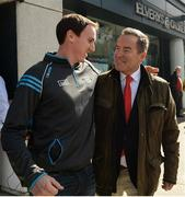 17 September 2017; Jeff Stelling meets a Dublin supporter on his way into Croke Park ahead of the match. Watch Jeff Stelling and Chris Kamara commentate on the All-Ireland Football Final in the final episode of AIB's Jeff & Kammy's Journey to Croker airing on www.youtube.com/AIB at 5pm on Monday 25th September. For exclusive content and behind the scenes action follow AIB GAA on Facebook, Twitter, Instagram and Snapchat. Photo by Cody Glenn/Sportsfile