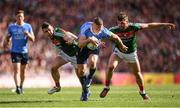17 September 2017; Eoghan O'Gara of Dublin in action against Chris Barrett, left, and Séamus O'Shea of Mayo during the GAA Football All-Ireland Senior Championship Final match between Dublin and Mayo at Croke Park in Dublin. Photo by Stephen McCarthy/Sportsfile