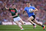 17 September 2017; Con O'Callaghan of Dublin escapes the attention of Colm Boyle of Mayo on his way to scoring his side's first goal during the GAA Football All-Ireland Senior Championship Final match between Dublin and Mayo at Croke Park in Dublin. Photo by Stephen McCarthy/Sportsfile