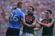 17 September 2017; Tom Parsons of Mayo in action against Eoghan O'Gara of Dublin during the GAA Football All-Ireland Senior Championship Final match between Dublin and Mayo at Croke Park in Dublin. Photo by Seb Daly/Sportsfile