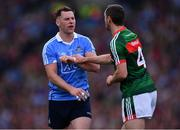 17 September 2017; Philip McMahon of Dublin in action against Keith Higgins of Mayo during the GAA Football All-Ireland Senior Championship Final match between Dublin and Mayo at Croke Park in Dublin. Photo by Sam Barnes/Sportsfile