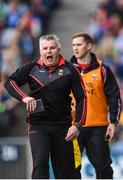 17 September 2017; Mayo manager Stephen Rochford reacts to decision against his team during the GAA Football All-Ireland Senior Championship Final match between Dublin and Mayo at Croke Park in Dublin. Photo by Seb Daly/Sportsfile