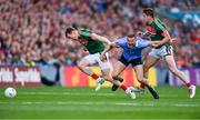 17 September 2017; Ciarán Kilkenny of Dublin is fouled by against Donal Vaughan, left, and Lee Keegan of Mayo during the GAA Football All-Ireland Senior Championship Final match between Dublin and Mayo at Croke Park in Dublin. Photo by Sam Barnes/Sportsfile