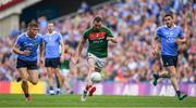 17 September 2017; Keith Higgins of Mayo races clear of Con O'Callaghan, left, and Paddy Andrews of Dublin during the GAA Football All-Ireland Senior Championship Final match between Dublin and Mayo at Croke Park in Dublin. Photo by Brendan Moran/Sportsfile