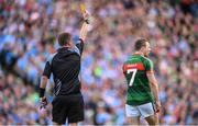 17 September 2017; Colm Boyle of Mayo receives a yellow card during the GAA Football All-Ireland Senior Championship Final match between Dublin and Mayo at Croke Park in Dublin. Photo by Stephen McCarthy/Sportsfile
