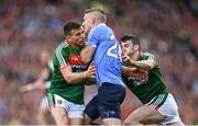 17 September 2017; Eoghan O'Gara of Dublin in action against Jason Doherty, left, and Brendan Harrison of Mayo during the GAA Football All-Ireland Senior Championship Final match between Dublin and Mayo at Croke Park in Dublin.