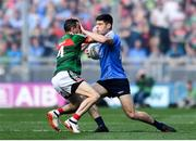 17 September 2017; Diarmuid Connolly of Dublin is tackled by Keith Higgins of Mayo during the GAA Football All-Ireland Senior Championship Final match between Dublin and Mayo at Croke Park in Dublin. Photo by Ramsey Cardy/Sportsfile