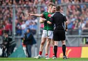 17 September 2017; Keith Higgins of Mayo protests to Referee Joe McQuillan during the GAA Football All-Ireland Senior Championship Final match between Dublin and Mayo at Croke Park in Dublin. Photo by Eóin Noonan/Sportsfile