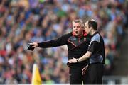 17 September 2017; Mayo manager Stephen Rochford is calmed by the forth offical during the GAA Football All-Ireland Senior Championship Final match between Dublin and Mayo at Croke Park in Dublin. Photo by Seb Daly/Sportsfile