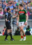 17 September 2017; Donal Vaughan of Mayo leaves pitch after red card during the GAA Football All-Ireland Senior Championship Final match between Dublin and Mayo at Croke Park in Dublin. Photo by Brendan Moran/Sportsfile
