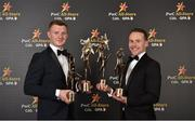 3 November 2017; Galway hurler Joe Canning, left, pictured with his Hurler of the Year and PwC All Star awards and Mayo footballer Andy Moran pictured with his Footballer of the Year and All Star awards during the PwC All Stars 2017 at the Convention Centre in Dublin. Photo by Seb Daly/Sportsfile