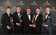 3 November 2017; Feargal O'Rourke, Managing Partner, PwC, pictured with, from left, Young Hurler of the Year Conor Whelan of Galway, Hurler of the Year Joe Canning of Galway, Footballer of the Year Andy Moran of Mayo and Young Footballer of the Year Con O'Callaghan of Dublin during the PwC All Stars 2017 at the Convention Centre in Dublin. Photo by Seb Daly/Sportsfile