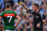 17 September 2017; Colm Boyle of Mayo is shown a yellow card by Referee Joe McQuillan during the GAA Football All-Ireland Senior Championship Final match between Dublin and Mayo at Croke Park in Dublin. Photo by Sam Barnes/Sportsfile