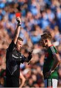 17 September 2017; Donal Vaughan of Mayo is shown a red card by Referee Joe McQuillan during the GAA Football All-Ireland Senior Championship Final match between Dublin and Mayo at Croke Park in Dublin. Photo by Seb Daly/Sportsfile