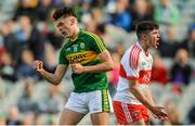 17 September 2017; David Clifford of Kerry celebrates scoring his side's sixth goal as Pádraig McGrogan of Derry reacts in frustration during the Electric Ireland GAA Football All-Ireland Minor Championship Final match between Kerry and Derry at Croke Park in Dublin. Photo by Piaras Ó Mídheach/Sportsfile