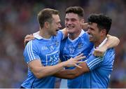 17 September 2017; Dublin players from left, Dean Rock, Diarmuid Connolly and Cian O'Sullivan celebrate following the GAA Football All-Ireland Senior Championship Final match between Dublin and Mayo at Croke Park in Dublin. Photo by Sam Barnes/Sportsfile