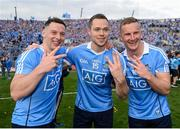 17 September 2017; Dublin players, from left, Philip McMahon, Dean Rock and Ciarán Kilkenny celebrate following their side's victory the GAA Football All-Ireland Senior Championship Final match between Dublin and Mayo at Croke Park in Dublin. Photo by Seb Daly/Sportsfile