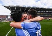 17 September 2017; Dublin players, from left, Cian O'Sullivan, Dean Rock and Diarmuid Connolly celebrate following the GAA Football All-Ireland Senior Championship Final match between Dublin and Mayo at Croke Park in Dublin. Photo by Stephen McCarthy/Sportsfile