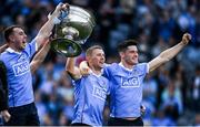 17 September 2017; Dublin players from left, Cormac Costello, Paul Mannion and Diarmuid Connolly celebrate with the Sam Maguire Cup after the GAA Football All-Ireland Senior Championship Final match between Dublin and Mayo at Croke Park in Dublin. Photo by Eóin Noonan/Sportsfile