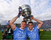 17 September 2017; Paul Flynn, left, and Bernard Brogan of Dublin celebrate following the GAA Football All-Ireland Senior Championship Final match between Dublin and Mayo at Croke Park in Dublin. Photo by Stephen McCarthy/Sportsfile