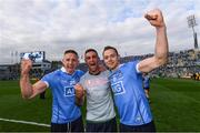 17 September 2017; Dublin players, from left, Eoghan O'Gara, James McCarthy and Dean Rock celebrate following the GAA Football All-Ireland Senior Championship Final match between Dublin and Mayo at Croke Park in Dublin. Photo by Stephen McCarthy/Sportsfile