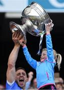 17 September 2017; Eoghan O'Gara of Dublin and his daughter Ella celebrates with the Sam Maguire cup following his side's victory after the GAA Football All-Ireland Senior Championship Final match between Dublin and Mayo at Croke Park in Dublin. Photo by Seb Daly/Sportsfile