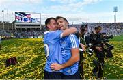 17 September 2017; Dublin's Cormac Costello, left, and Jonny Cooper celebrate following the GAA Football All-Ireland Senior Championship Final match between Dublin and Mayo at Croke Park in Dublin. Photo by Ramsey Cardy/Sportsfile