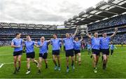 17 September 2017; Dublin players, from left, Michael Fitzsimons, John Small, Ciarán Kilkenny, Niall Scully, Cormac Costello, Con O'Callaghan, Paul Mannion and Diarmuid Connolly celebrate following the GAA Football All-Ireland Senior Championship Final match between Dublin and Mayo at Croke Park in Dublin. Photo by Ramsey Cardy/Sportsfile
