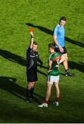 17 September 2017; Donal Vaughan of Mayo receives a red card from referee Joe McQuillan during the GAA Football All-Ireland Senior Championship Final match between Dublin and Mayo at Croke Park in Dublin. Photo by Daire Brennan/Sportsfile
