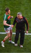 17 September 2017; Donal Vaughan of Mayo shakes hands with manager Stephen Rochford after being sent off during the GAA Football All-Ireland Senior Championship Final match between Dublin and Mayo at Croke Park in Dublin. Photo by Daire Brennan/Sportsfile