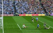 17 September 2017; Con O'Callaghan of Dublin shoots to score his side's first goal past Mayo goalkeeper David Clarke during the GAA Football All-Ireland Senior Championship Final match between Dublin and Mayo at Croke Park in Dublin. Photo by Stephen McCarthy/Sportsfile
