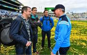 17 September 2017; Dublin manager Jim Gavin with members of the Air Corps who flew over Croke Park before the game, including Capt Sean McCarthy, Cmdt Frank Byrne and Capt Enda Walsh, after the GAA Football All-Ireland Senior Championship Final match between Dublin and Mayo at Croke Park in Dublin. Photo by Brendan Moran/Sportsfile