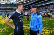 17 September 2017; Dublin captain Stephen Cluxton and manager Jim Gavin after the GAA Football All-Ireland Senior Championship Final match between Dublin and Mayo at Croke Park in Dublin. Photo by Ray McManus/Sportsfile