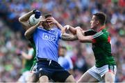 17 September 2017; Bernard Brogan of Dublin is tackled by Keith Higgins, left, and Stephen Coen of Mayo during the GAA Football All-Ireland Senior Championship Final match between Dublin and Mayo at Croke Park in Dublin. Photo by Ramsey Cardy/Sportsfile