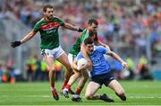 17 September 2017; Diarmuid Connolly of Dublin is tackled by Chris Barrett of Mayo, resulting in a free which Dean Rock successfully kicked, to win the GAA Football All-Ireland Senior Championship Final match between Dublin and Mayo at Croke Park in Dublin. Photo by Ramsey Cardy/Sportsfile