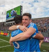 17 September 2017; Dublin's Diiarmuid Connolly celebrates with his team mate Cian O'Sullivan after the GAA Football All-Ireland Senior Championship Final match between Dublin and Mayo at Croke Park in Dublin. Photo by Ray McManus/Sportsfile