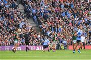 17 September 2017; Referee Joe McQuillan indicates a free for Dublin after Diarmuid Connolly, 19, had been fouled, by Chris Barrett, 6, of Mayo, in the last minute of GAA Football All-Ireland Senior Championship Final match between Dublin and Mayo at Croke Park in Dublin. Photo by Ray McManus/Sportsfile