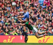 17 September 2017; Keith Higgins of Mayo blocks a shot on goal from Bernard Brogan of Dublin during the GAA Football All-Ireland Senior Championship Final match between Dublin and Mayo at Croke Park in Dublin. Photo by Brendan Moran/Sportsfile