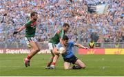 17 September 2017; Diarmuid Connolly of Dublin is fouled by Chris Barrett of Mayo late in the game, from which Dean Rock scored the winning free, during the GAA Football All-Ireland Senior Championship Final match between Dublin and Mayo at Croke Park in Dublin. Photo by Piaras Ó Mídheach/Sportsfile
