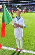 17 September 2017; eir flagbearer Conor McCallig, age 10, from Mayo, prior to the GAA Football All-Ireland Senior Championship Final match between Dublin and Mayo at Croke Park in Dublin. Photo by Brendan Moran/Sportsfile