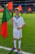 17 September 2017; eir flagbearer Robert O'Connell, age 10, from Mayo, prior to the GAA Football All-Ireland Senior Championship Final match between Dublin and Mayo at Croke Park in Dublin. Photo by Brendan Moran/Sportsfile