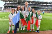 17 September 2017; eir flagbearers, from left, Senan Lupton, Molly McGlynn, Laura Haran, Robert O'Connell, Conor McCallig and Sarah McCluskey, with David Brady prior to the GAA Football All-Ireland Senior Championship Final match between Dublin and Mayo at Croke Park in Dublin. Photo by Brendan Moran/Sportsfile