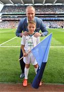 17 September 2017; eir flagbearer Senan Lupton, from Dublin, with David Brady prior to the GAA Football All-Ireland Senior Championship Final match between Dublin and Mayo at Croke Park in Dublin. Photo by Brendan Moran/Sportsfile