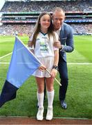 17 September 2017; eir flagbearer Molly McGlynn, age 12, from Dublin, with David Brady prior to the GAA Football All-Ireland Senior Championship Final match between Dublin and Mayo at Croke Park in Dublin. Photo by Brendan Moran/Sportsfile