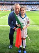 17 September 2017; eir flagbearer Sarah McCluskey, age 10, from Mayo, with David Brady prior to the GAA Football All-Ireland Senior Championship Final match between Dublin and Mayo at Croke Park in Dublin. Photo by Brendan Moran/Sportsfile