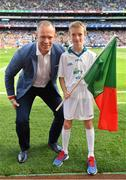 17 September 2017; eir flagbearer Robert O'Connell, age 10, from Mayo, with David Brady prior to the GAA Football All-Ireland Senior Championship Final match between Dublin and Mayo at Croke Park in Dublin. Photo by Brendan Moran/Sportsfile